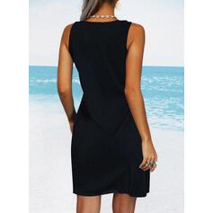 Sólido Sin mangas Tendencia Hasta la Rodilla Pequeños Negros/Casual/Vacaciones Vestidos