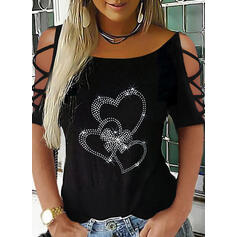 Solid Sequins Heart Cold Shoulder Short Sleeves Sexy Blouses