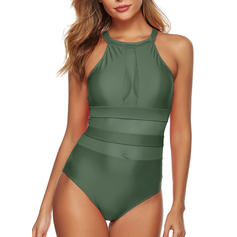 Solid Color Round Neck High Neck Sexy One-piece Swimsuits