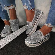 Frauen Funkelnde Glitzer PU Flascher Absatz Flache Schuhe Quadratischer Zeh mit Pailletten Schuhe