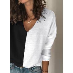 Geblockte Farben V-Ausschnitt Freizeit Pullover