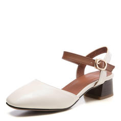 Women's Leatherette Chunky Heel Sandals Closed Toe shoes