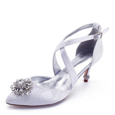 Femmes Similicuir Talon bobine Bout fermé Chaussures plates avec Couture dentelle Talon cristal Cristal