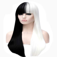 Straight Synthetic Hair Capless Wigs White and black Wig long straight hair with Bang and the wind night club performances Street Party Costume wigs