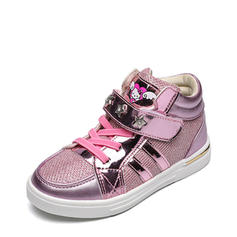 Girl's Leatherette Mesh Flat Heel Closed Toe Flats Sneakers & Athletic With Velcro Rivet