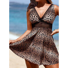 Leopard Print Strap V-Neck Sexy Plus Size Swimdresses Swimsuits
