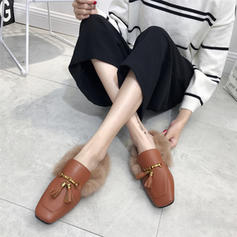 Femmes PU Talon plat Chaussures plates Bout fermé Escarpins avec Chaîne Fausse Fourrure chaussures