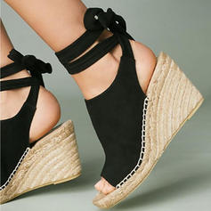 Women's PU Wedge Heel Peep Toe With Lace-up shoes