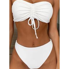 Enfärgad Axelbandslös Bandlös Klassisk stil bikini Badkläder
