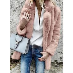 Long Sleeves Plain Faux Fur Coats