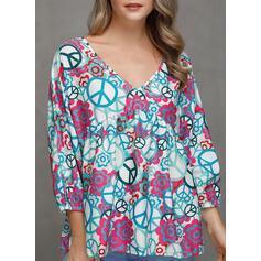 Print V-Neck Long Sleeves Casual Elegant Blouses