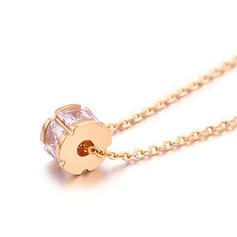 Simple Zircon Copper With Zircon Girls' Fashion Necklace (Sold in a single piece)