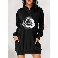 Imprimée/Fleurie Manches Longues Droite Au-dessus Du Genou Décontractée Robe Sweat Robes