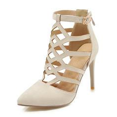 Femmes Suède Talon stiletto Sandales Escarpins Bout fermé avec Ouvertes chaussures