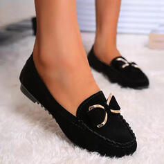Women's Suede Flat Heel Flats Round Toe Slide & Mules Loafers Slip On With Bowknot Solid Color shoes