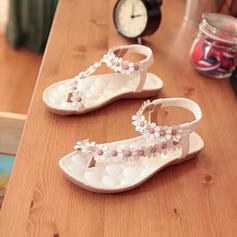 Women's PU Flat Heel Sandals Flats Peep Toe With Flower shoes