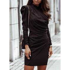 Solide Lange Mouwen/Pof Mouwen Bodycon Boven de knie Zwart jurkje/Elegant Jurken