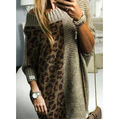 Color Block Ribbed Leopard Round Neck Casual Long Sweater Dress