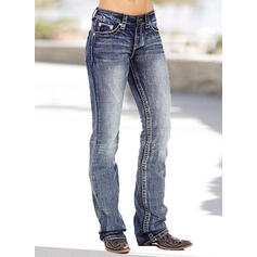 Pockets Shirred Plus Size Long Skinny Denim & Jeans