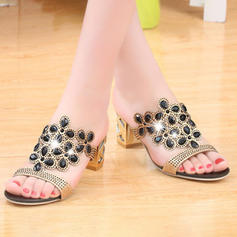 Women's PU Chunky Heel Sandals Peep Toe With Crystal shoes