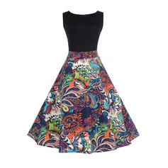 Print Round Neck Knee Length A-line Dress