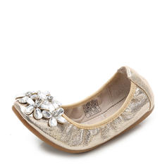 Girl's Leatherette Flat Heel Closed Toe Flats Flower Girl Shoes With Rhinestone