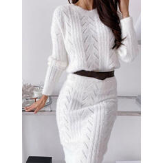 Solid Long Sleeves Bodycon Casual Midi Dresses