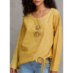 Solid Round Neck Long Sleeves Button Up Casual T-shirt