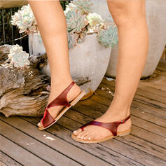 Femmes PU Talon plat Sandales Anneau d'orteil avec Boucle chaussures