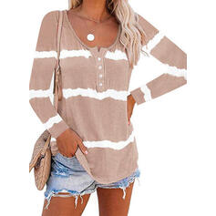 Tie Dye Round Neck Long Sleeves Button Up Casual Blouses