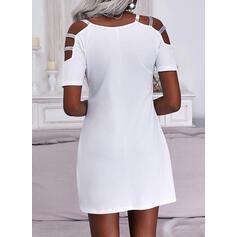 Tisk/Srdce flitry Krátké rukávy Cold Ramen Sleeve Šaty Shift Nad kolena Neformální Tunika Šaty