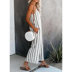 Striped Spaghetti Strap Sleeveless Casual Vacation Sexy Jumpsuit