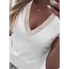 Jednolity Dekolt w kształcie litery V Krótkie rękawy T-shirty