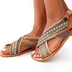 Femmes PU Talon plat Sandales avec Brodé chaussures