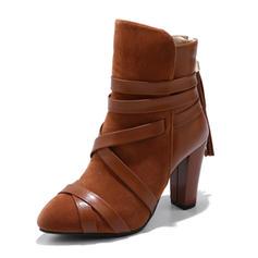 Femmes Suède Similicuir Talon stiletto Escarpins Bottes avec Dentelle chaussures