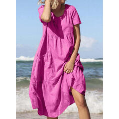 Solid Short Sleeves Shift Tunic Casual/Vacation Midi Dresses