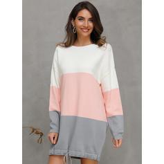 Färg block Djur Rand Round Neck Tröja klänning