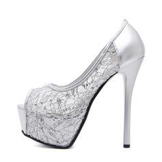 Frauen Gummi PVC Stöckel Absatz Absatzschuhe Plateauschuh Peep Toe mit Zweiteiliger Stoff Schuhe