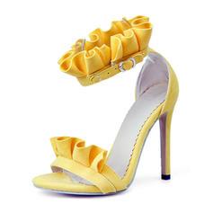Women's Suede Stiletto Heel Sandals Pumps Peep Toe With Buckle Ruffles shoes