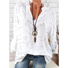 Floral V-Neck Long Sleeves Casual Elegant Shirt Blouses