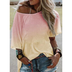 Gradient One-Shoulder 1/2 Sleeves Casual T-shirts