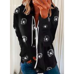 Nadruk Lapel Długie rękawy Bluza