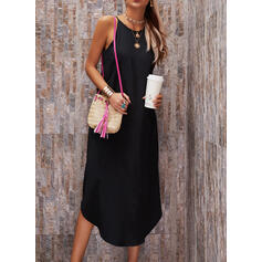 Solid Sleeveless Shift Slip Little Black/Casual/Vacation Maxi Dresses