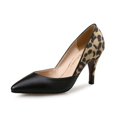 Women's Fabric Stiletto Heel Pumps Closed Toe With Animal Print shoes