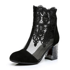Women's Real Leather Lace Stiletto Heel Pumps With Stitching Lace Flower shoes