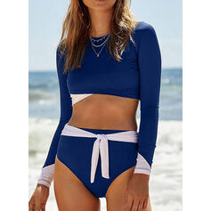 Solid Color Long Sleeve High Neck Sports Vintage Bikinis Swimsuits