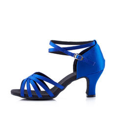 Women's Latin Heels Sandals Satin With Ankle Strap Latin