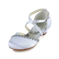 Fille de Satin Low Heel Bout fermé Escarpins Chaussures de fille de fleur avec Boucle Strass