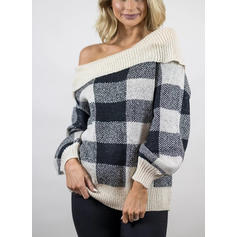 Grid One Shoulder Sweaters