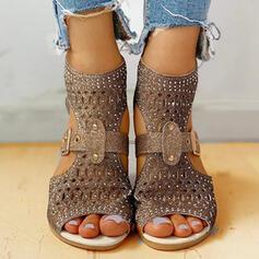Női PU Alacsony sarok Szandál Lakások Peep Toe -Val Hegyikristály Hálós ruha cipő